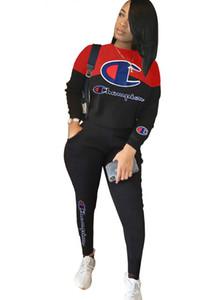2019 neue Sweat Shirt Brief drucken Anzug Frauen mit Rundhalsausschnitt Panelled Pullover + Long Pants gesetzte Frauen-Sport-Klagen Zweiteilige Klage S-XXL