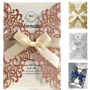 Rose Gold Glitter Laser geschnittene Einladungskarten mit Bändern Hochzeit Brautdusche Engagement Birthday Party Graduation WX9-1351