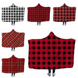 A cuadros con capucha Sherpa Manta 150 * 130cm sofá Niños felpa del invierno Mantón Couch tirar Fleece Wrap Ropa Capa Envolver LJJA3371-11