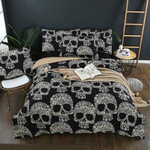 Sugar Skulls Bedding Sets Black Color Skull Floral Duvet Cover Queen King Size Beddings Bed Sets 3pcs dropshipping