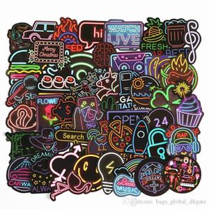2020 monopatín etiqueta Dazzle color de la historieta de vacaciones impermeable etiqueta decoración personalizada 50pcs etiqueta Hermoso ambiente Partido