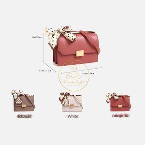 2020 neue Mode-Design koreanische Version aus Echtem Leder Frauen Schal Kleine Quadratische Geldbörse Echt Rindsleder Bowknot Messegner Tasche