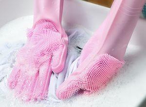 1Pair Küche Handschuhe Silikon Haushalts-Reinigungs-Handschuhe magische Silikon-Geschirrwaschhandschuh für Küche-Qualitäts-Reinigungswerkzeug