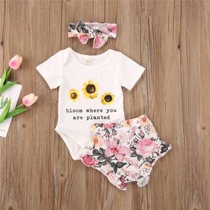 2020 Newborn Baby Sunflower Short Sleeve Bodysuits Shorts Headband Girls Boys Clothing 3pcs 0-24M