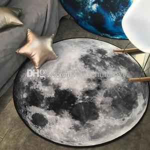 Alfombra redonda Personalidad Tierra creativa Luna Impresión en 3D Alfombra Silla de la computadora Cojín Colgar Alfombra Lavable Tapetes decorativos decoraciones ideas
