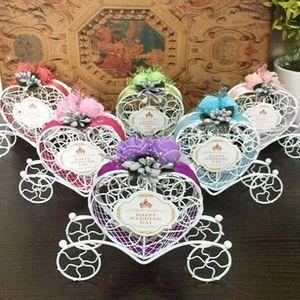 100pcs Hierro romántica carro de la calabaza caramelo de la boda caja de regalos favor de la boda del bebé ducha de la boda Decoración LX1056