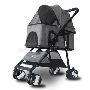 Küçük ve orta ölçekli köpekler için Hayvanın arabası ayrılabilir köpek arabası katlanabilir hafif ayrılabilir dört tekerlekten hayvan arabası
