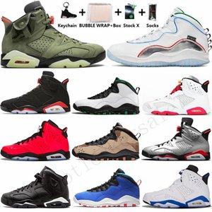 2020 con la caja Llavero Calcetines 6s Travis Scotts zapatos Gato Negro infrarrojos Blanco 6 de baloncesto del Mens 5s Alas Seattle Cemento hombre de los deportes zapatillas de deporte