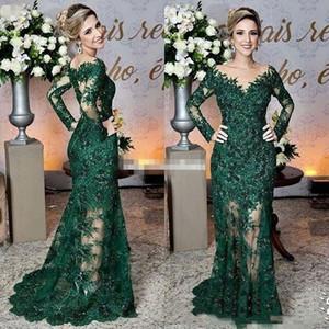 2020 verde escuro Mãe dos vestidos de noiva Sheer Jewel Neck Lace apliques de manga comprida Mermaid Formal Vestido Prom