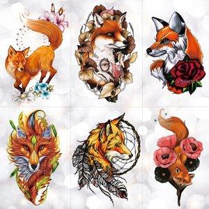 Temporary Tattoos Aquarell Wolf Fox Totem Tiger wasserdicht temporäre Tätowierung-Aufkleber Geometrisches Dreieck Flash-Tattoos Body Art Fake-Tatoo