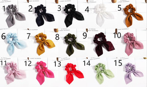 15 style Satin bow Elastic Hair Scrunchies Scrunchy Hairbands Head Band Ponytail Holder Girls Rabbit Ear Rubber Headband Hair Accessories L