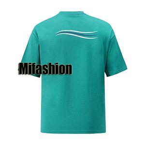 2020 Europa de primavera y verano elegante Francia París Wave Line camiseta Moda Hombres Mujeres de manga corta camiseta de algodón Casual Streetwear Tee