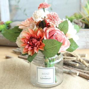 искусственные цветы розы букет георгин имитационный цветок розы Свадебный декоративный цветок невесты Букеты Свадьба Событие Декор CFYZ29Q