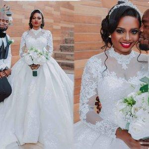 2021 Ball Gown Plus Size Arabic Aso Ebi Wedding Dresses Vintage Long Sleeves High Neck Bridal Dresses Overskirt Wedding Gowns