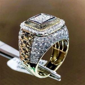 campeonato de oro, anillo de Hip hop hombres anillo de diamantes anillos para hombre nuevo oro anillos del cristal de regalo de joyería de moda
