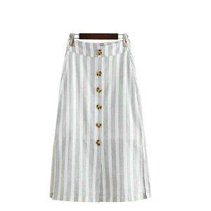 2019 женщин полосатый принт хлопок льняные юбки миди пуговицы моды открытые женские юбки хай-стрит