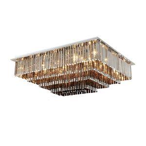 Dimmable lustre plafond de cristal rectangulaire éclairage moderne des lustres gris fumé lumières chambre de salon monter lampes led chasse d'eau