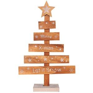 + Ornamento Pentagram Xmas Tree Natal Impressão de madeira Feliz Natal Árvore Home Office desktop Ano Novo Decoração de Navidad