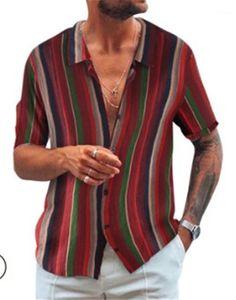 Einreiher Shirts Herren Short Sleeve Regular Länge gestreiftes Hemd Mann drehen unten Kragen-Hemd-Sommermens-Designer