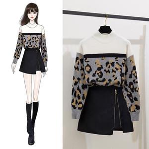 ICHOIX leopar baskı Triko Etek Seti Kore tarzı Kadınlar İki parça kıyafetler streetwear kız elbise 2 Adet Set Kış giyim