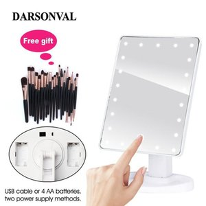 LED Professional Lighted Mirror With Light for makeup Adjustable Light 16 22 Touch Screen Table make-up led mirror Eyelash Brush Y200114