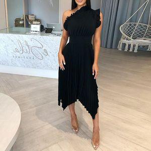 Irrégulier Femmes Designer Robes sexy seule épaule filandreux Selvedge Femmes plissés Robes Femmes Stylistes de luxe
