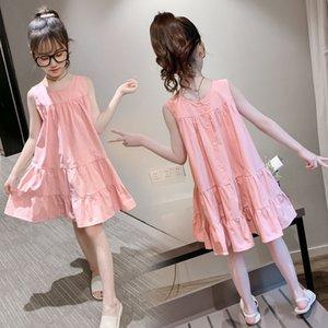 Kid Clothes Summer Girls Cotton Casual Dress Sleeveless Elegant Princess Party Dresses Children Outwear Beautiful Cute Dress T29