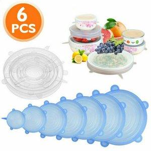Silikon-Stretch Lids Saug Topfdeckel 6Pcs / Set Food Grade frisch zu halten Wrap Seal Deckel Pan Abdeckung Küchenhelfer CCA12159 30set