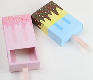 50Pcs crème glacée Forme Coffrets cadeaux de soirée de mariage Bonbonnière Cartoon tiroir sac cadeau pour Kids Party Box boîtes bleues Faveur rose