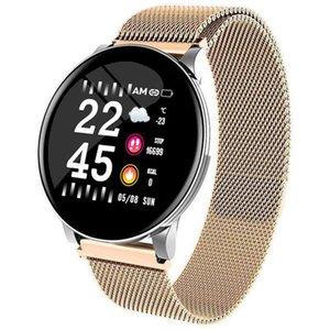 W8 Smart Watch Impermeabile Uomo Donna Pressione Blood Pressione cardiaca Attività Tracker Pedometro Sport Fitness Smart Orologi in acciaio inox Strap