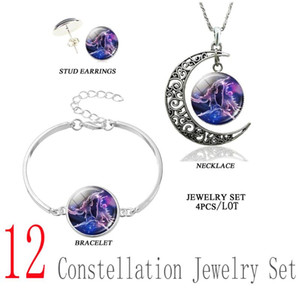 12 Constellation Scorpio Libra Leo Aries Jewelry Set Silver Necklace Bracelet Earrings Set for Women Girls Birthday Presents