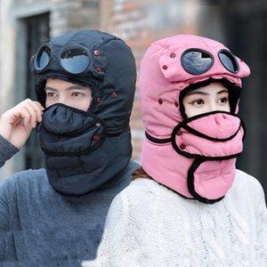 Kulak Kanatçıklan Olan Bombacı Şapkalar Kadın Erkek Çocuk Kış Windproof Kayak Cap Ve Maske Pilot Gözlükler Sıcak Şapka Trooper Trapper Cap Y200110