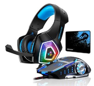 2020 Nuovo Hunterspider V1 Stereo Gaming Headset bassi profondi Over-Ear Headphone gioco con la luce del Mic LED per PS4 PC + Gaming Mouse + Mouse Pad