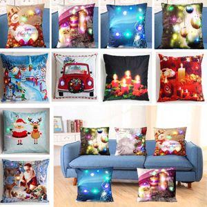 LED Christmas Luminous Pillow Case Plush Throw Pillow Covers Cushion Cover XMAS Pillowcase Home Sofa Car Decor 20 Style HH9-2320