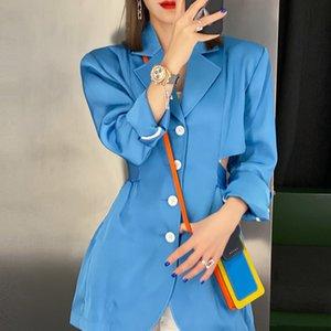[EWQ] giacca donne 2020 autunno nuovo dolce manica lunga collo dentellato cappotto monopetto signore ufficio vestiti di modo Outwear Hollow