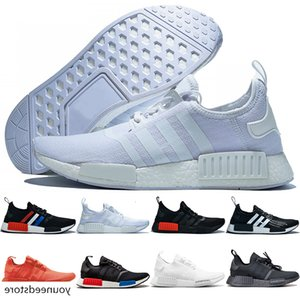 2019 NMD R1 Running Shoes Men Women Atmos White Black Red Yellow France Olive Mens Trainers Breathable Sports Sneakers Runner Size 36-47