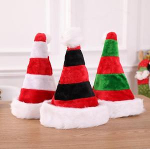 Listrado Natal 3styles Xmas Hat Detalhes no vermelho de Papai Noel Bolsa Festa de Natal Decoração de pelúcia Hat Ornamentos crianças dom FFA2848-2
