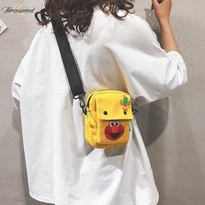 만화 인쇄 힙합 캔버스 가방 학생 미니 숄더 백 여성 Simpe 소형 크로스 바디 백 귀여운 Moblie 전화 지갑