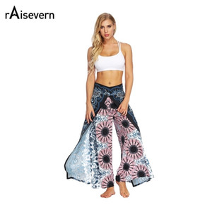Raisevern New Fashion Womens Wide Leg Sporting Pants Sexy High Split Pants Women Casual Loose Pant Female Summer Trousers Y19051701