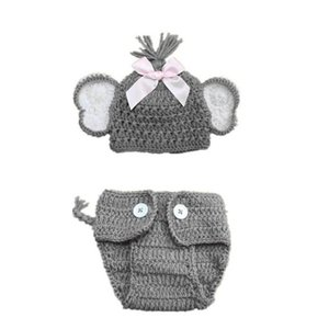 2pcs Newborn Stretchy Knit Elephant Photo Baby Hat + Shorts Costume Photography Props 0-3 months baby boy hat Cap
