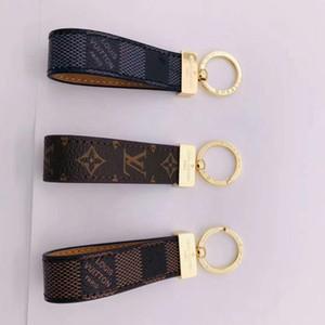 concepteur porte-clés unisexe cuir clé de la chaîne en acier inoxydable porte-clés d'or avec keyring en brun avec boîte