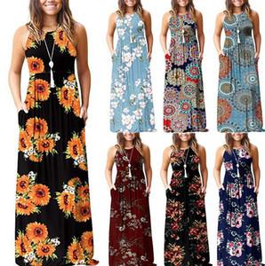 맥시 드레스 빈티지 스타일 롱 맥시 저녁 파티 비치 드레스 sundress에 7 개 스타일 LJJK2026 조끼 여성의 여름 꽃 인쇄 드레스 민소매