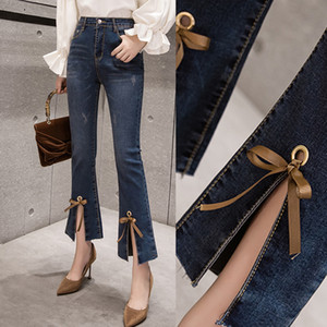 Summer Spring Korean Womens High Waist Bow Placket Stretch Ankle Length Flare Jeans Pants , Woman Stretch Slim Denim Trousers
