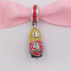 Authentique 925 perles en argent sterling poupée Matriochka Charm, Charms émail mixte Fits bijoux européens Style Pandora Bracelets Collier 7978