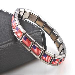 Bijoux Drapeau américain Elasticité élastique énergie Sport magnétique Charm Germanium Bracelet Italian Hot Fashion en acier inoxydable ST10