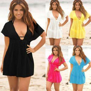Frauen-Damen-Boho-Strand-Sommer-tiefer V-Ausschnitt schnüren sich oben Kaftan-Sarongabnutzung Badebekleidungs-Bikini-Spitze harajuku feminina Hemd Femme Bluse