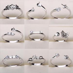 Настройки Pearl Ring 925 Щепка Кольца для женщин 20 стилей МИКС DIY кольца Регулируемый размер ювелирных изделий Настройки Рождественский подарок Заявление ювелирные изделия