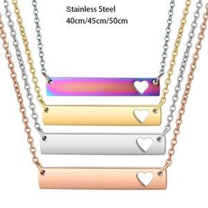 3pcs / lot Ayna Polonya Bar kolye Hollow Out Kalp Boş Bar kolye Salkım 4 renk Paslanmaz Çelik gerdanlık Takı