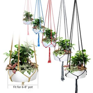 Handmade colorido Macrame planta cabides Indoor suspensão da flor ao ar livre Basket Cotton Rope 4 Legs Varanda Pot Hanger Room Decor