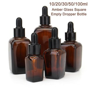 Svuotare Piazza di vetro contagocce Con Eye Pipetta Vuotare ambra aromaterapia oli essenziali Bottle Container 10/20/30/50 / 100m imballaggio della bottiglia